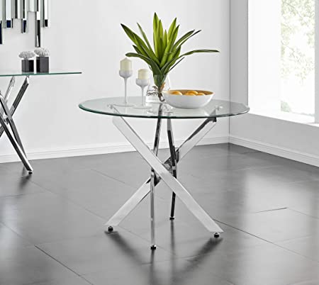 Furniturebox Uk Novara Modern Round Circular Clear Glass And Chrome Metal Contemporary Stylish Dining Kitchen Table Amazon Co Uk Kitchen Home