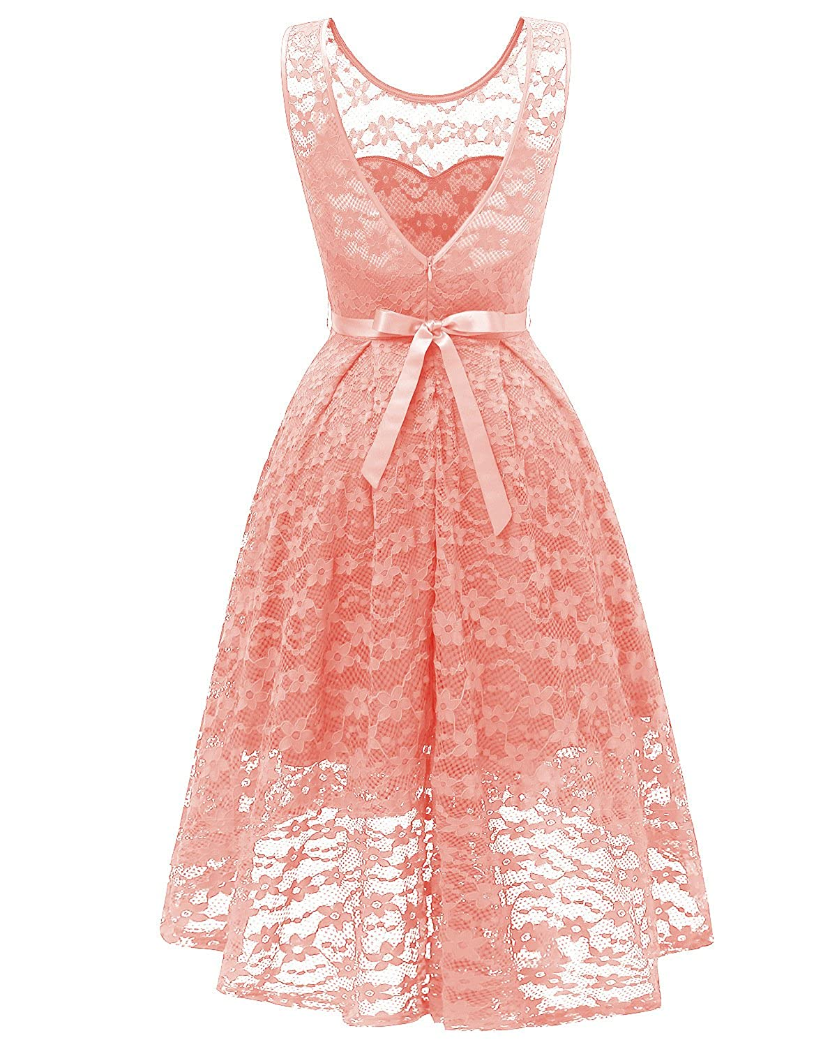 Womens Vintage 1950s A line High Low Flared Lace Swing Party Cocktail Midi Dress