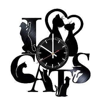 I Love gatos reloj de pared de vinilo – pared arte decoración de la habitación hecha