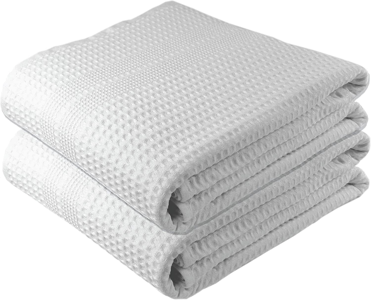 Premium Large 2 Pc Waffle Weave Bath Sheet 100% Natural Cotton – Generous Size Lightweight Ultra Absorbent Quick Drying Fade Resistant (White): Kitchen & Dining