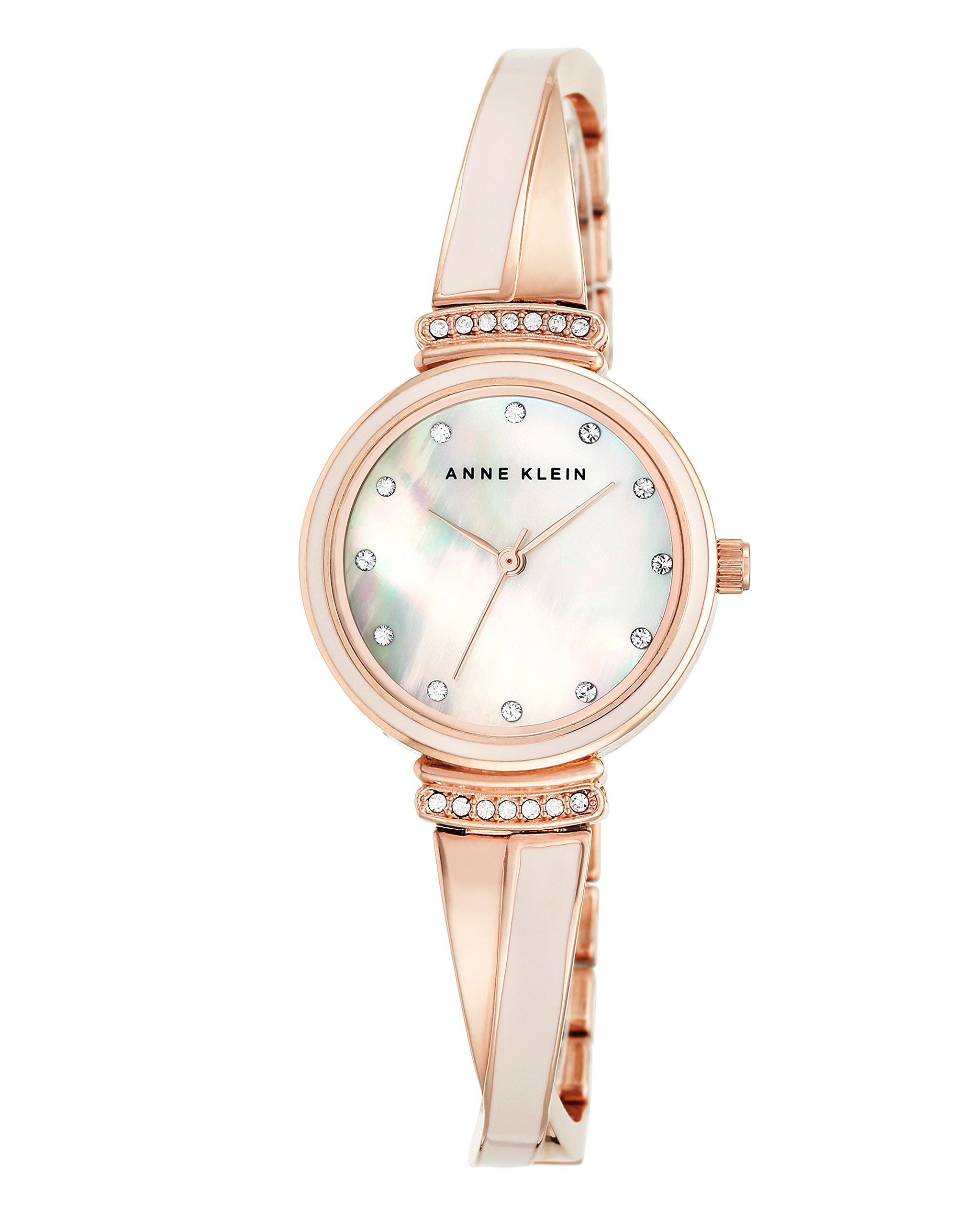 Anne Klein Women's AK/2216BLRG Swarovski Crystal-Accented Rose Gold-Tone and Blush Pink Bangle Watch
