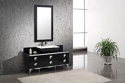 Moselle 59 Modern Glass Bathroom Vanity With Mirror Amazon Com