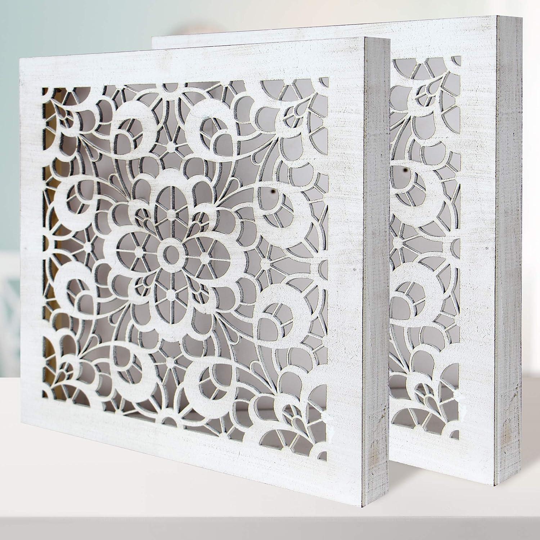 Conjunto de 2 Cuadros Mandala de Pared Calada, Fabricada artesanalmente en España- Mandala 3D Cuadrada Pintada a Mano- Modelo Mosaico 120 (Blanco Envejecido, 50x50 cm)