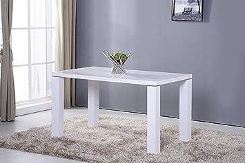 Table De Cuisine 130 Cm Rectangulaire Blanc Design Amazon Fr Jardin