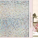 Wopeite 3D Decorative Self-Adhesive Window Film Privacy Static Cling Vinyl For Reuse Heat Control Mosaic Sun Blocking Stained Glasses Home Office 17.7 X 78.7 Inches