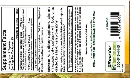 Amazon.com: TNVitamins Turmeric Curcumin 1000 Mg with Black Pepper (90 Capsules): Health & Personal Care