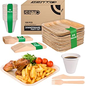 "100pcs Party Disposable Set - 25 8"" Areca Palm Leaf Plates, 25 Wooden Knives, 25 Wooden Forks, 25 Bagasse 8oz Cups 