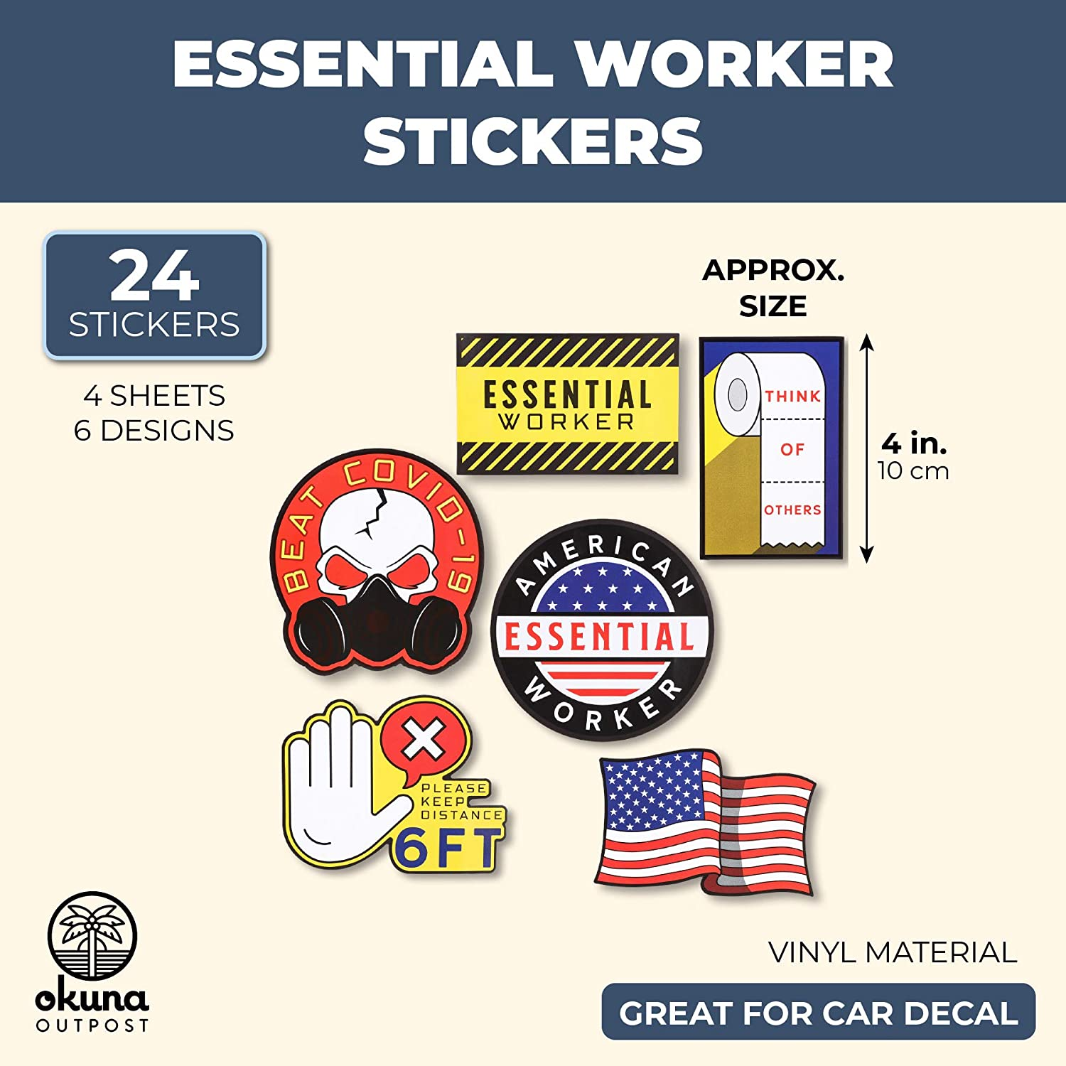 24 Pieces Car Stickers and Decals Essential Worker Sticker