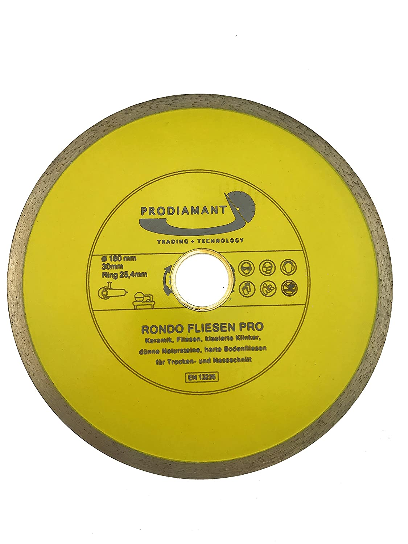 PRODIAMANT Premium Diamant-Trennscheibe Fliese 180 mm x 30//25,4 mm Diamanttrennscheibe PDX83.909 180mm passend Winkelschleifer