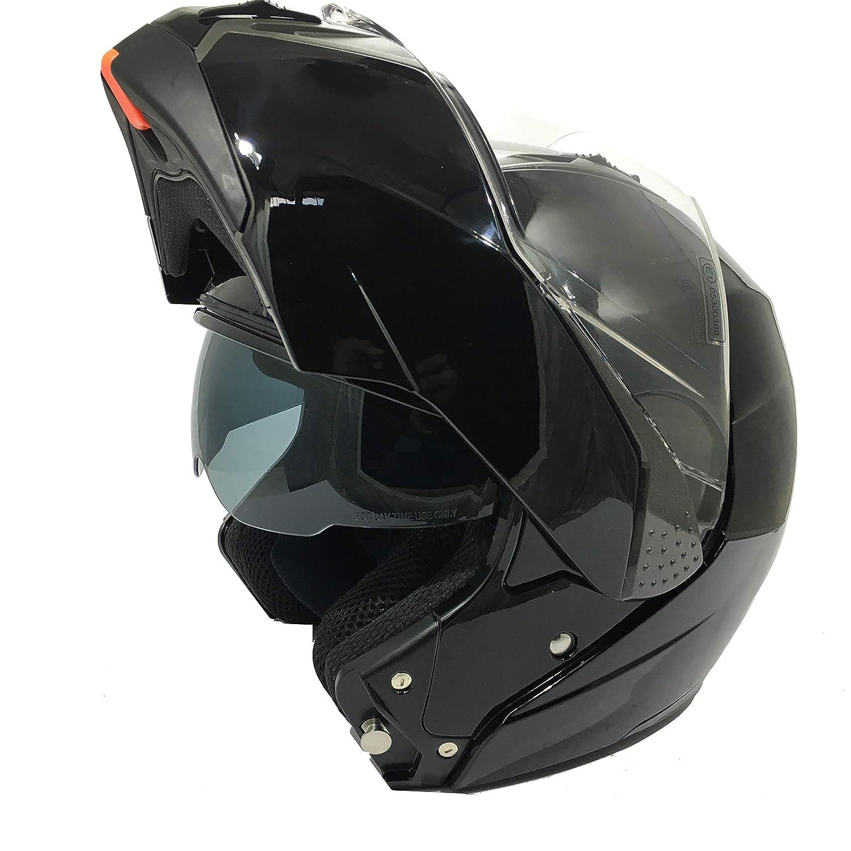 M 57-58 CM 3GO-E335 Moto FUL Face Modular Double VISI/ÈRE Hommes ET Femmes Cruiser Flip-UP ECE CERTIFI/ÉS Casque Noir Brillant