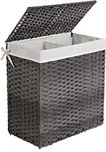 SONGMICS Divided Laundry Hamper, Handwoven Laundry Basket, Synthetic Rattan Clothes Hamper with Removable Liner Bag, Gray ULCB52WG