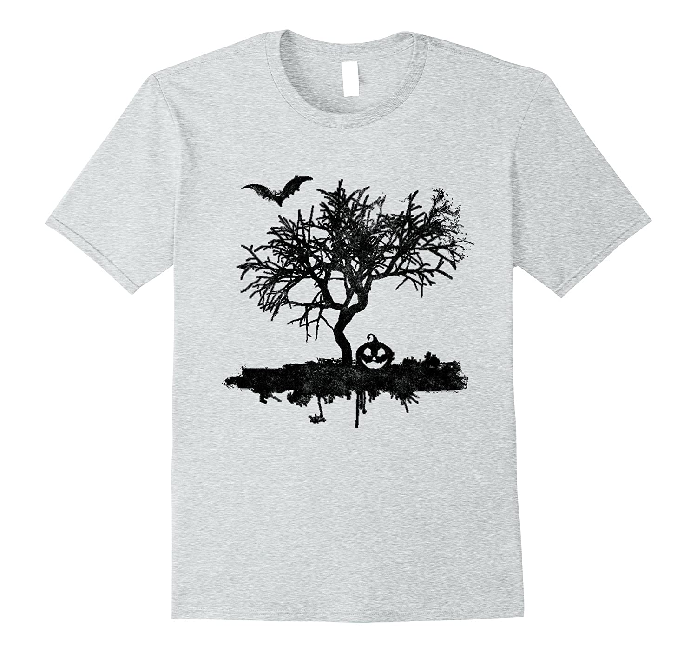 f6135c7b Scary Vintage Bat Tree Pumpkin Halloween Costume T Shirt-T-Shirt ...