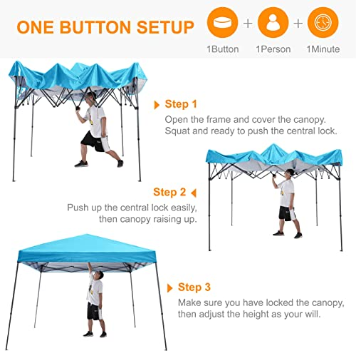 ABCCANOPY Beach Canopy Pop Up Camping Canopy with Easy Set Up Outdoor Canopy Tent, Sky Blue