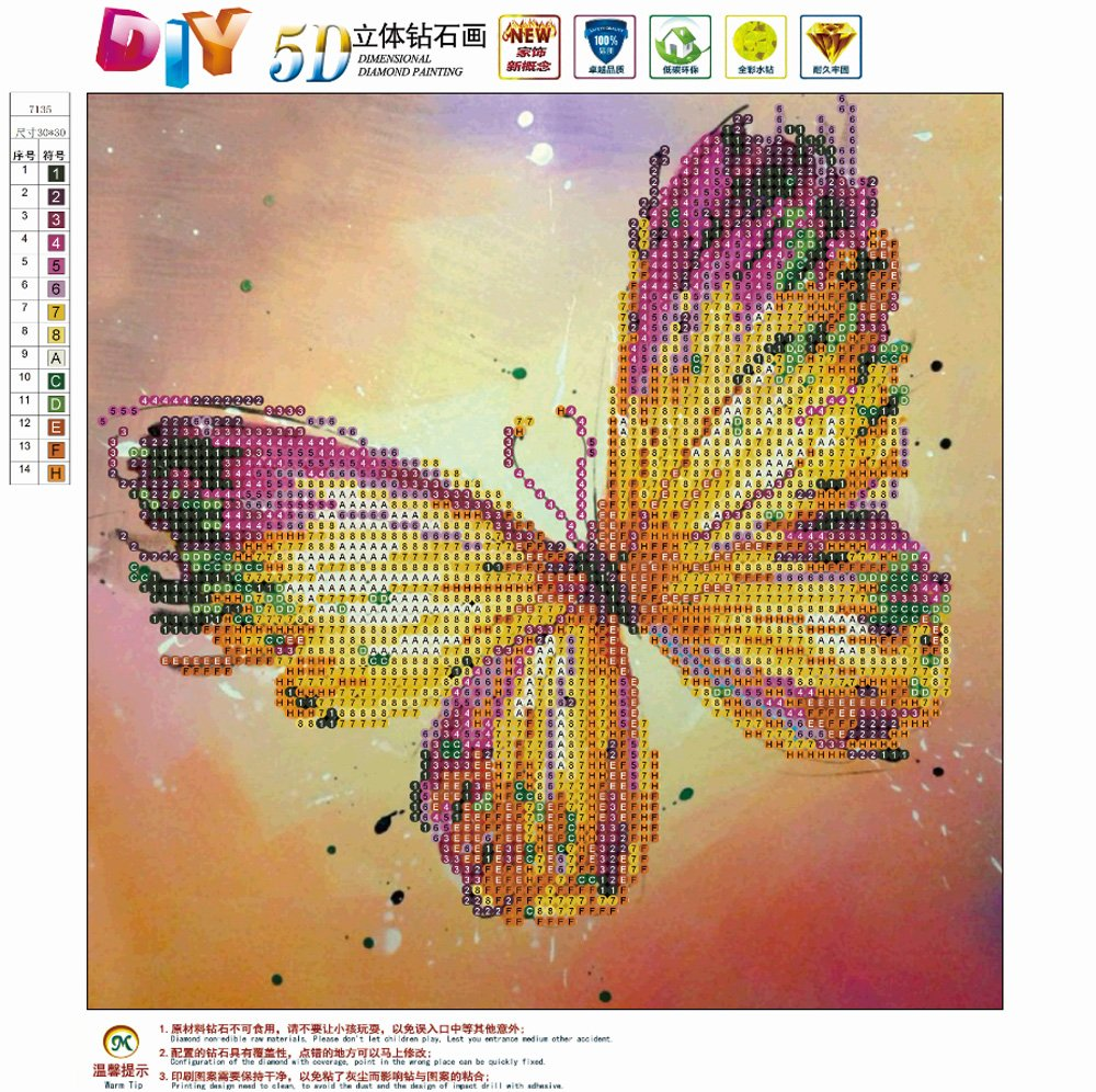 MXJSUA 5D Diamond Painting Round Drill Kits Adults Rhinestone Pasted Embroidery Cross Stitch Arts Craft Home Wall Decor 12x12inch Color Butterfly