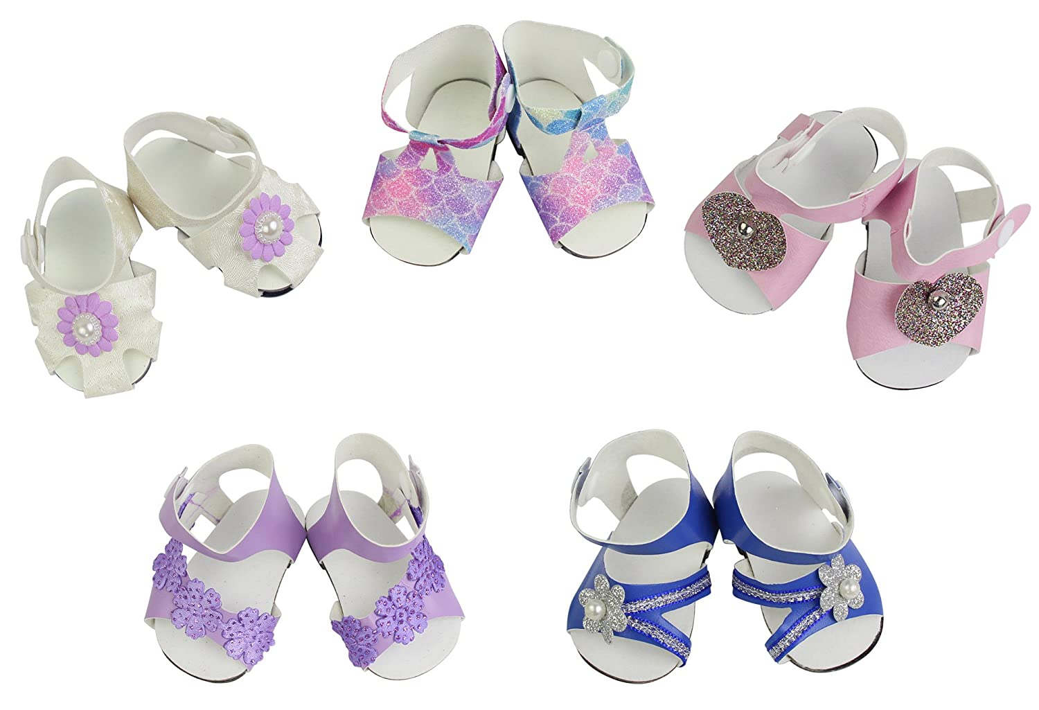 ZITA ELEMENT 5 Pairs of Shoes for American 18 Inch Girl Doll Accessories 5 Pairs Handmade Fashion Sandals for 16-18 Baby Dolls Best Premium /& Reward Gift for Girls