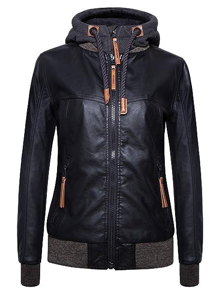 select for best new images of huge range of blackmogoo Womens Waterproof Bomber Jackets Ladies Leather Jacket with  Hoodie