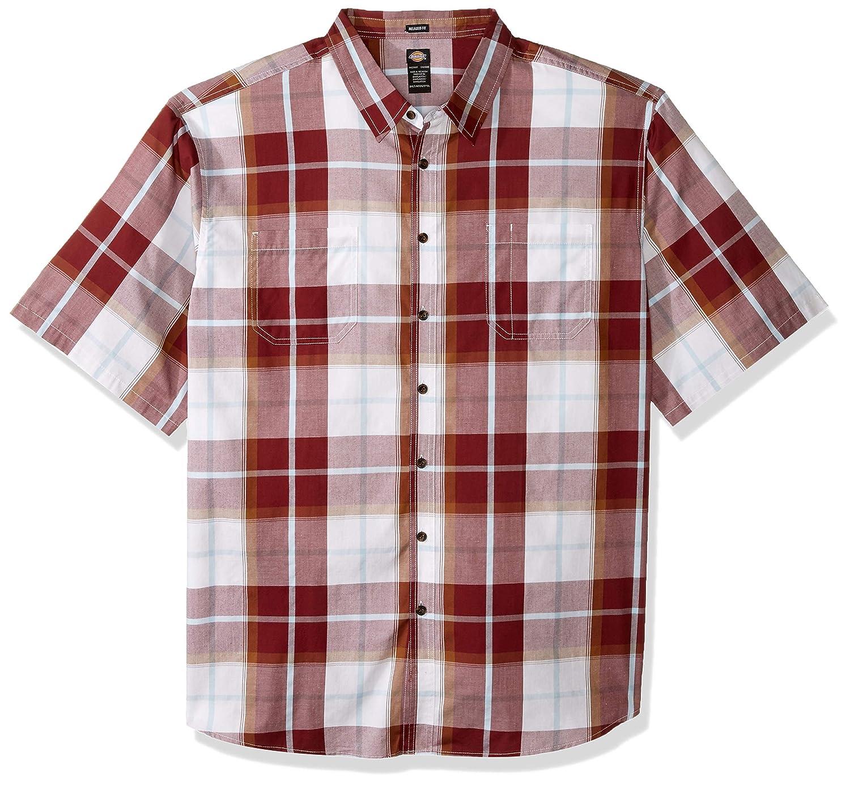 Dickies Mens Yarn Dyed Plaid Short Sleeve Shirt Big-Tall