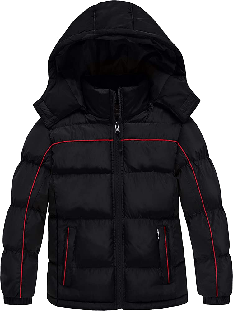 Wantdo Boys Quilted Winter Coats Warm Thicken Puffer Jacket Waterproof Parka with Hood