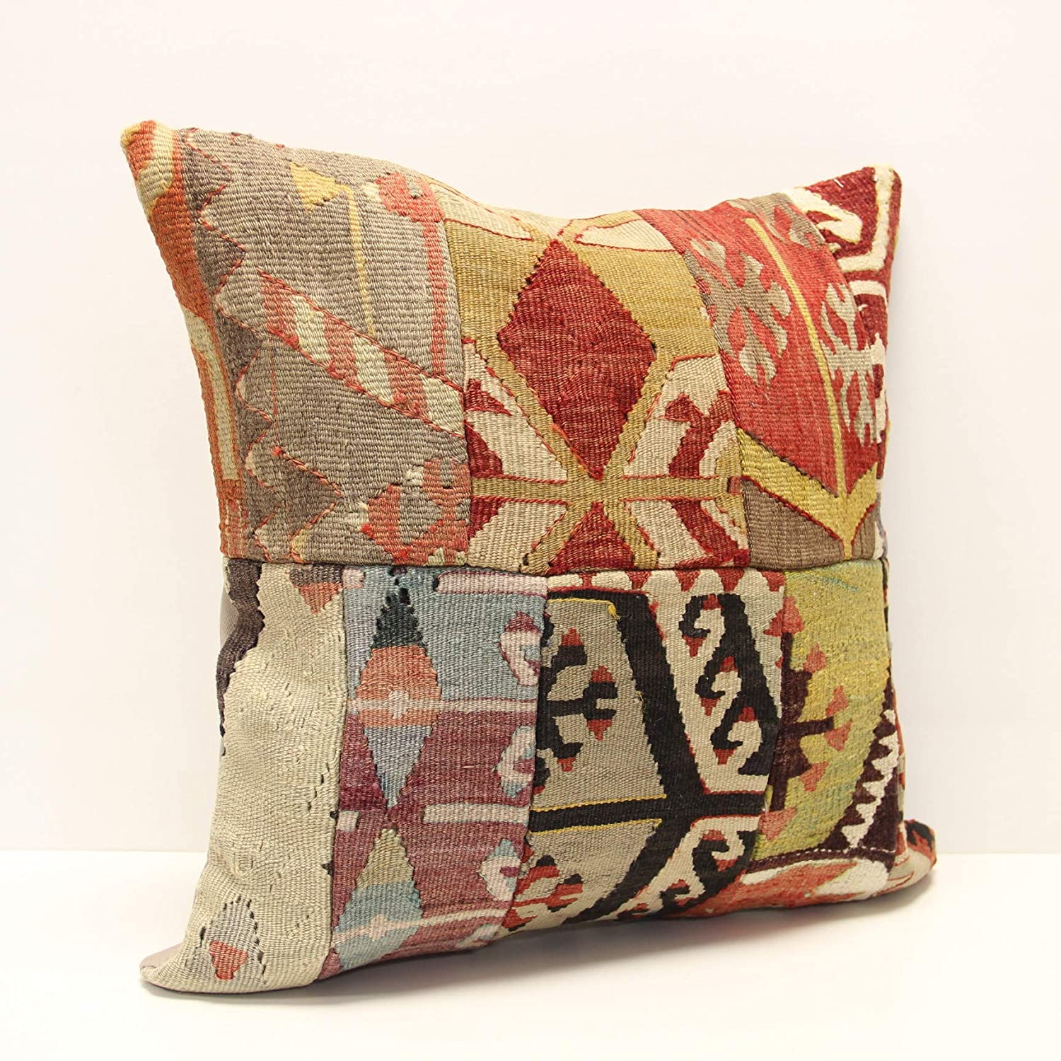square kilim pillow cover.18x18Turkish handmade decorative soft color brown yellow red striped  home design boho cushion KB-46