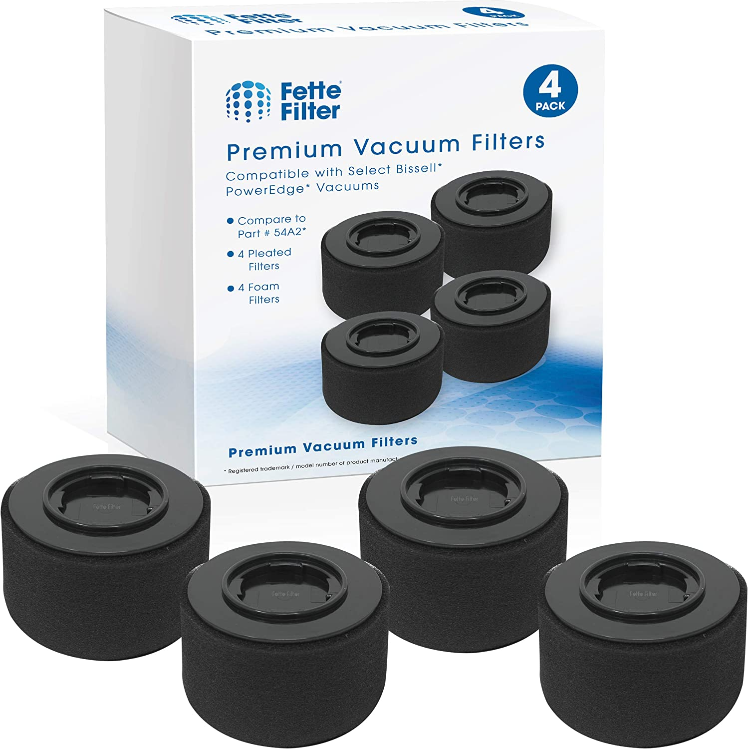 Fette Filter - Replacement Filter Pack Compatible with Bissell 54A2 for PowerEdge Hard Floor Vacuums. (4-Pack)