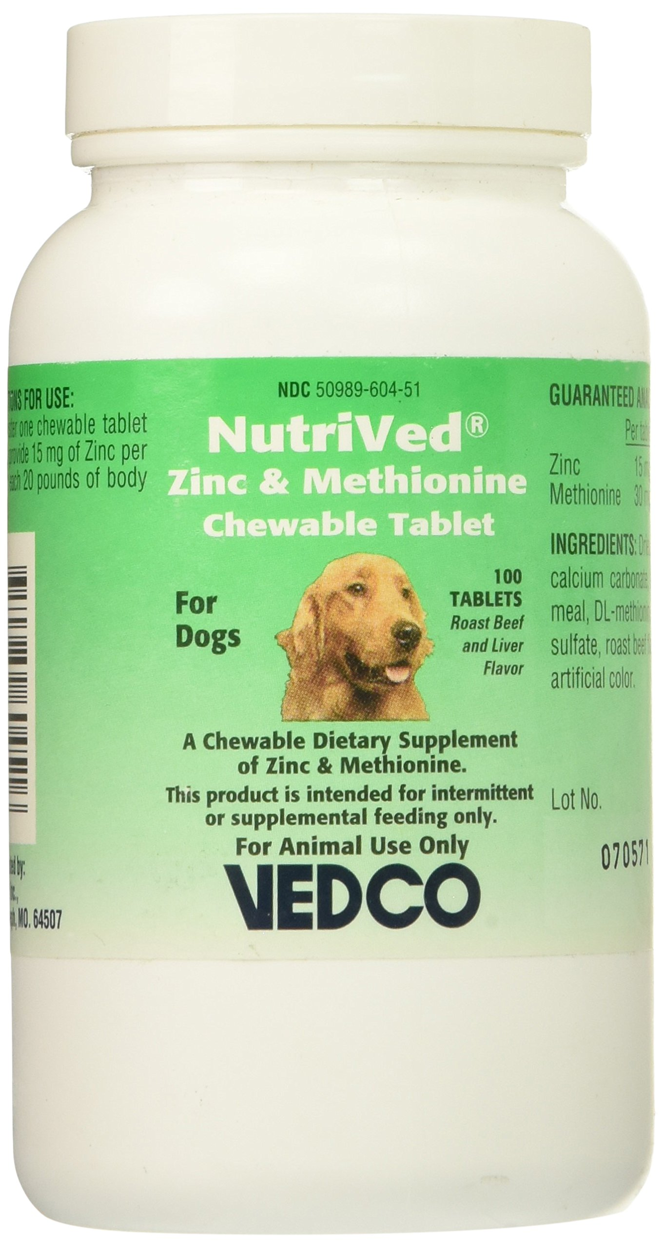 NutriVed Zinpro for Dogs (100 CHEWABLE Tablets) by Vedco