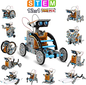 AoHu 12-in-1 Science Solar Robot Kit for Kids,STEM Educational DIY Solar Powered Building Toys Experiment Set for 8-14 Years Boys and Girls (190 Pieces)