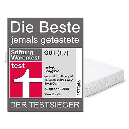 81c8e94866 Bodyguard Anti-Kartell-Matratze - Testsieger Stiftung Warentest ( H3  mittelfest, 90x200 cm, 2in1 Liegehärten H3&H4, abnehmbarer Bezug waschbar  bis 60 Grad, ...