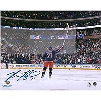 "Nick Foligno Columbus Blue Jackets Autographed 8"" x 10"" Stick Salute Photograph - Autographed NHL Sticks photo"