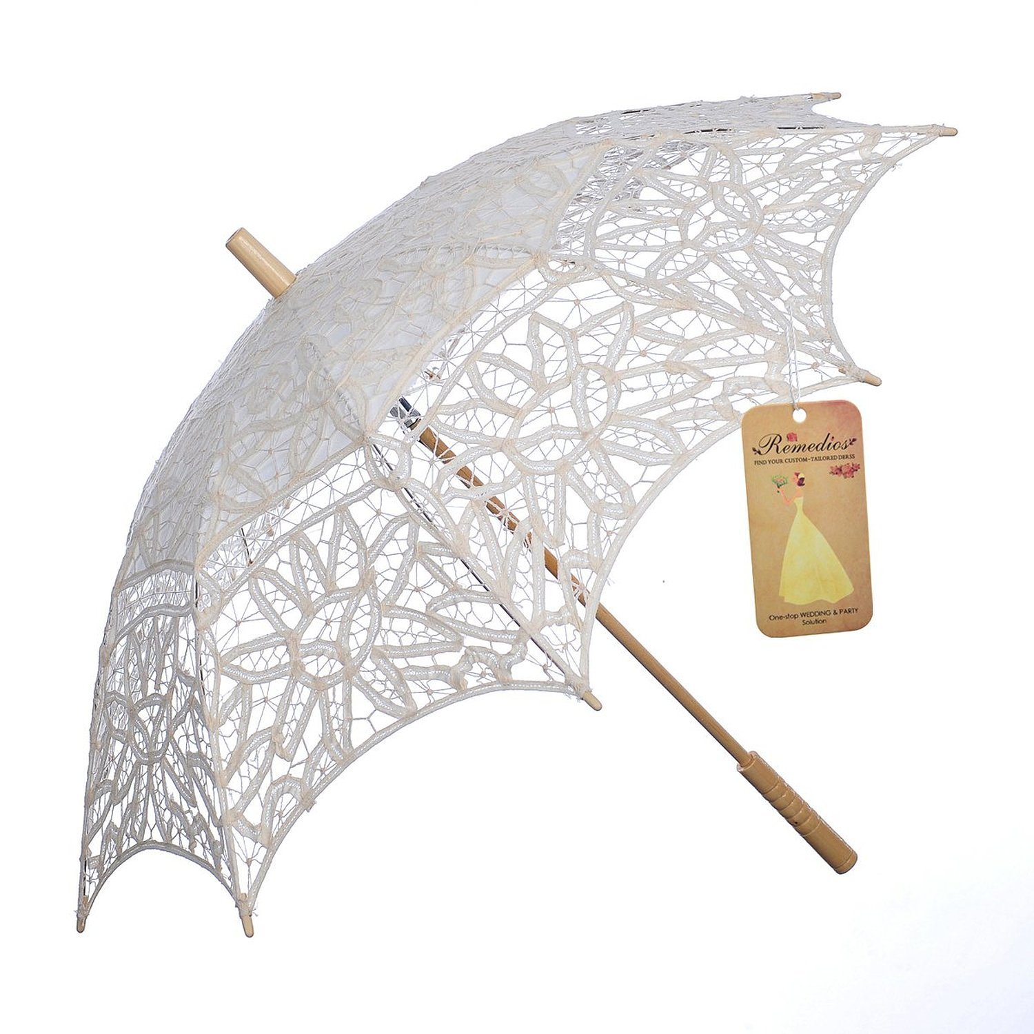 Topwedding Embroidered Cotton Lace Wedding Parasol Umbrella Party Decoration, Beige