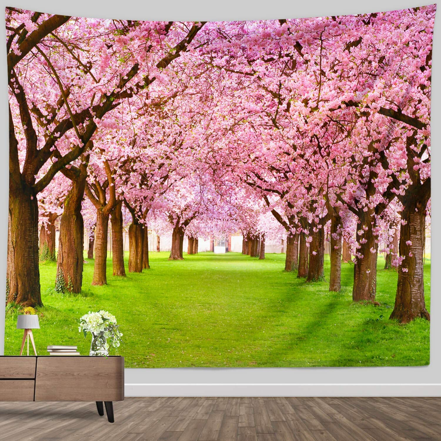 Wall Tapestry Spring Flowers, Cherry Flower Tree Woodland Grasses Plants Garden Scene Wall Art Tapestry Natural Wall Hanging for Bedroom Living Room Wall Decor Blanket
