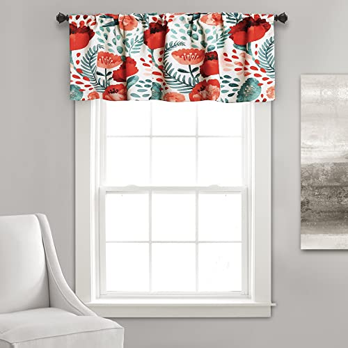 Lush Decor Valance, 18 x 52 , Multi Poppy Garden Curtains Room Darkening Window Panel Set for Living, Dining, Bedroom, 18 L