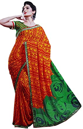 8a360b467f Women Georgette Sari with Blouse Semi Stitched Geometric Saree Indian  Costume: Amazon.co.uk: Clothing