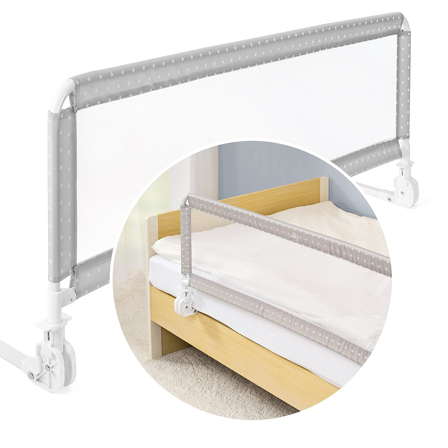 Fillikid XL Portable Bed Rail 135 x 50cm - Universal Folding Safety Bed Guard for Kids | Accommodates Box Spring Beds - Grey/White Stars