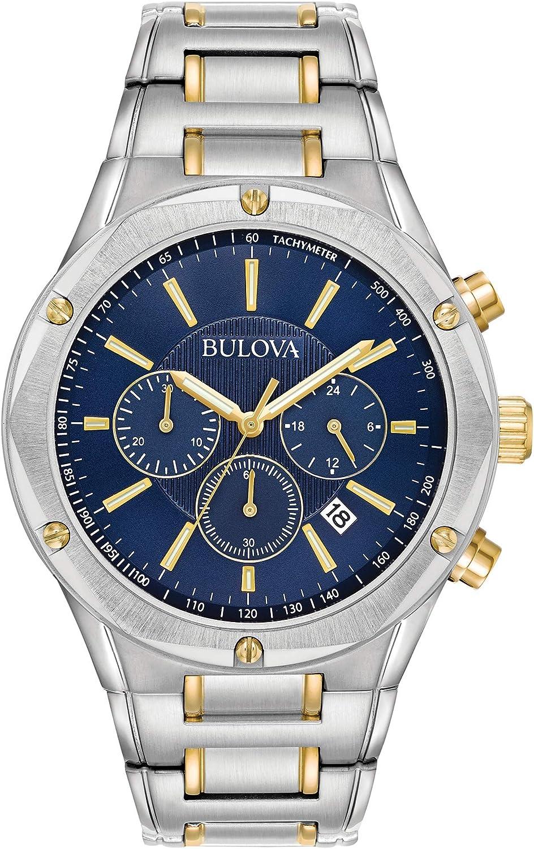 Bulova 98B284 Reloj cronógrafo de cuarzo con esfera azul y correa de dos tonos de 43 mm para hombre