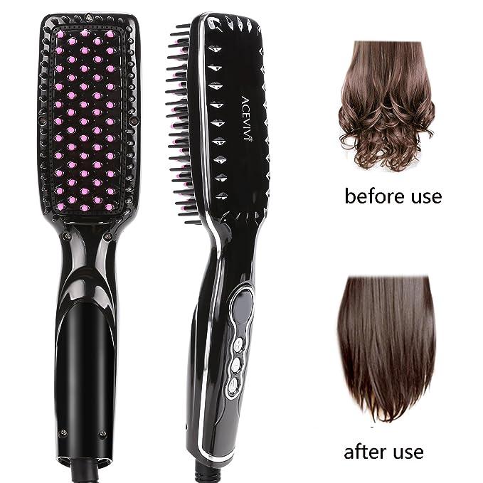 ACEVIVI Cepillo alisador de cabello iónico climatizada ...
