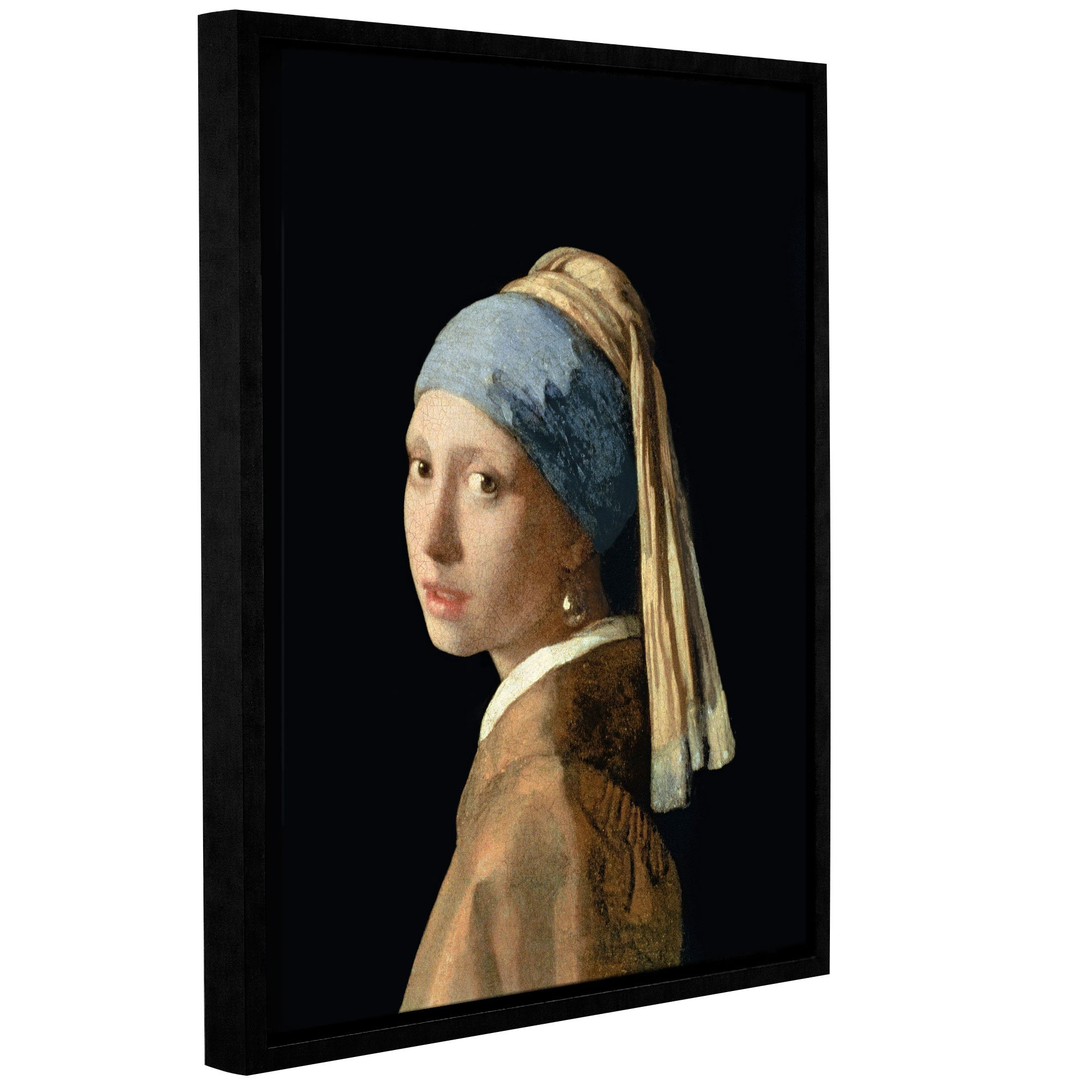 ArtWall Jan Vermeer's Girl with the Pear Earring Gallery Wrapped Floater Framed Canvas, 36'' x 48''