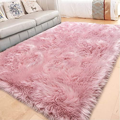 LOCHAS Luxury Faux Fur Sheepskin Rug Large Fluffy Rugs 4×6 Feet, Soft and Furry Carpet, Modern Washable Fuzzy Area Rug for Bedroom Living Room Home Girls, Pink