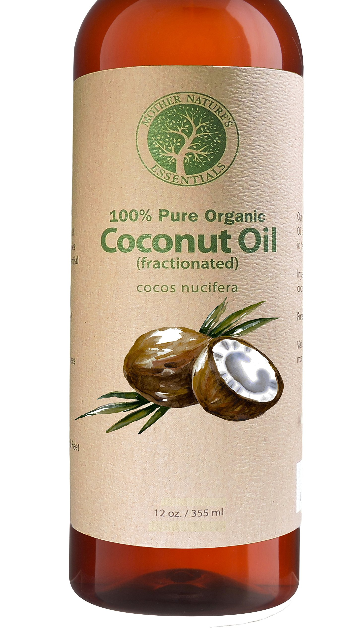 Organic Fractionated Coconut Oil For Skin 100% Pure & Natural. 12oz Wildcrafted & Organic. The Best Carrier Oil + Massage Oil + Moisturizer. Perfect for Roller Balls and Nail Oil Pens.