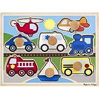 Melissa and Doug MD8980 Vehicles Jumbo Knob Puzzle (8 Pieces),8980,Multi