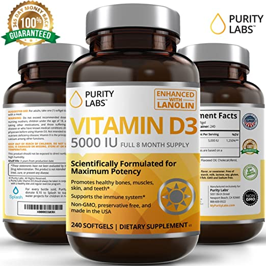 PurityLabs Vitamin D3 5000 iu Softgels – Vitamin D Supports Bone, Hormone, Immune, Muscle, Skin, and Teeth Health, 240 Count