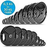C.P. Sports Olympia discos como par – GUSS o goma – 0,5 kg hasta 30 kg – Peso/Weight Plates 50 mm de hierro fundido con…