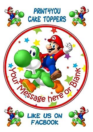 Decoracion Redonda Para Tarta Personalizable De Cumpleanos Nd1 Mario