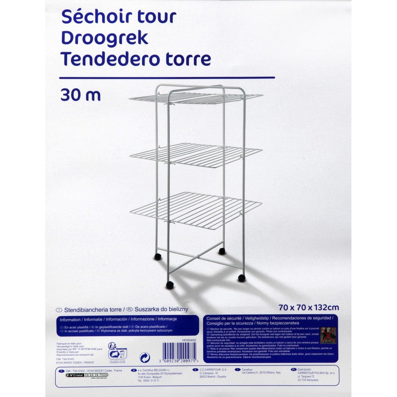 Carrefour 3609230200975 Tendedero de suelo Blanco secadora - Secadora de ropa (700 mm, 700 mm, 1320 mm, 1 pieza(s)): Amazon.es: Hogar