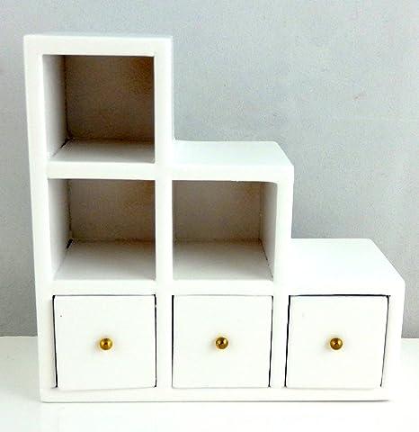 Melody Jane Maison de poupées Miniature Meuble Blanc Moderne Cube ...