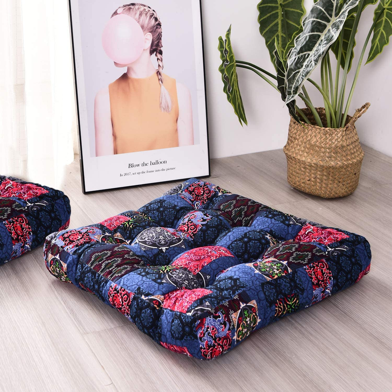 HIGOGOGO Boho Floor Pillow, Square Floor Cushion Cotton Linen Meditation Seat Pillow Bohemmia Style Yoga Cushion Floor Pad for Home Bay Window Party Garden Decoration, 22x22 Inch, Dark Blue