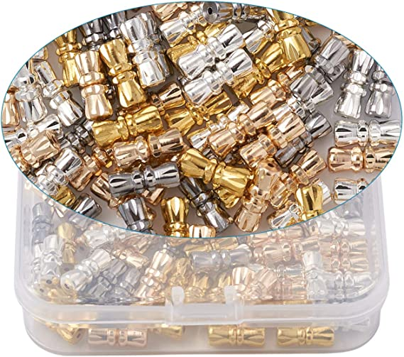PandaHall 100 Sets Barrel Screw Clasps Jewelry Connector 11-12x4.5-5mm Screw Twist Clasps Copper Fastener Cord End Caps for Jewelry Necklace Bracelet Making 1-1.2mm Hole