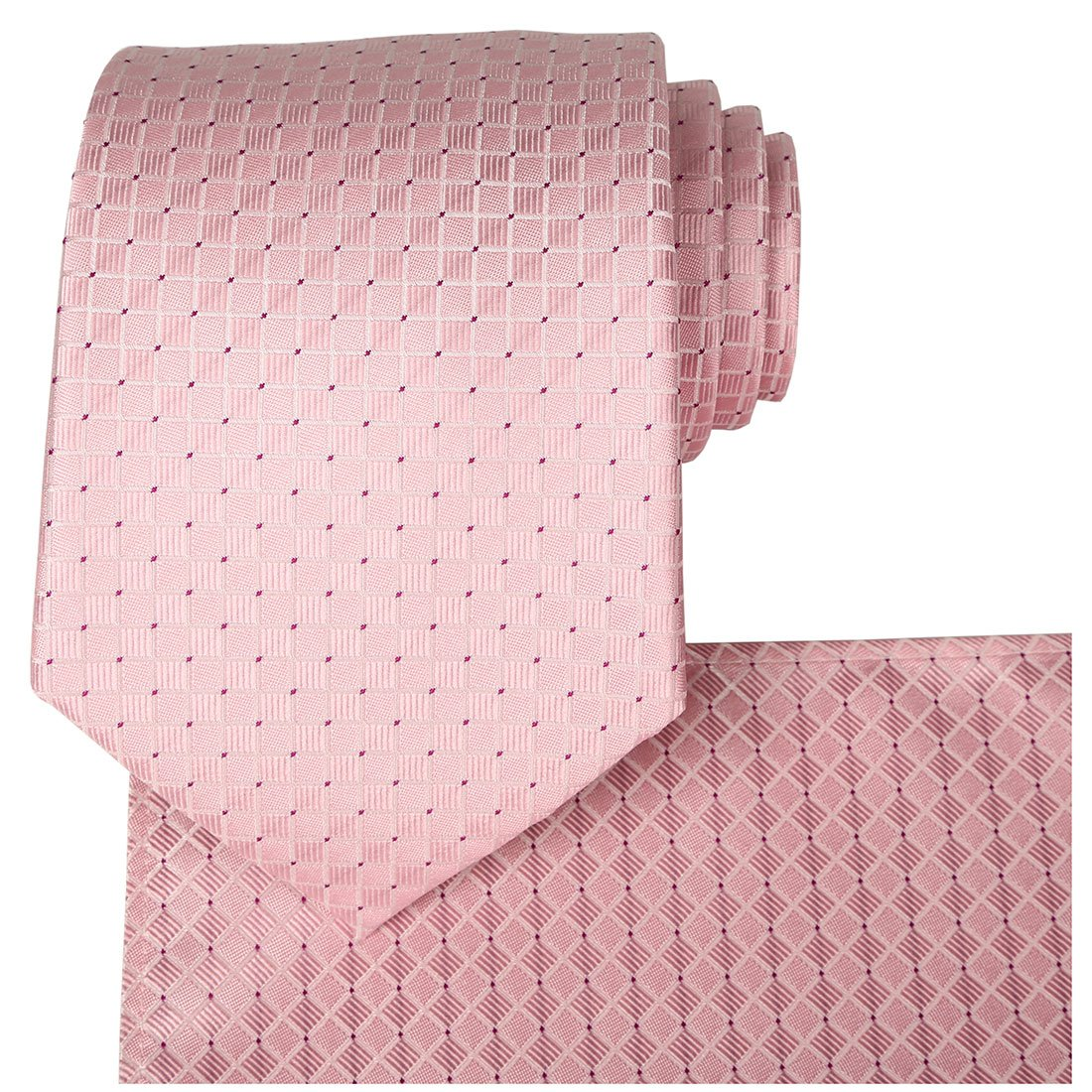 KissTies Rosy Pink Solid Tie Set Wedding Necktie + Pocket Square + Gift Box