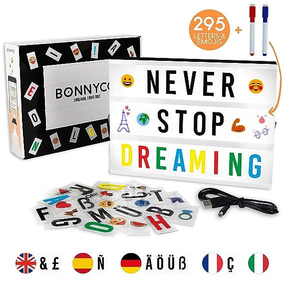 Light Box con 295 Lettere, Simboli e Emoji, 2 Pennarelli - BONNYCO   Lavagna Luminosa con Lettere Luminose Idee Regalo per Compleanno e Natale   ...