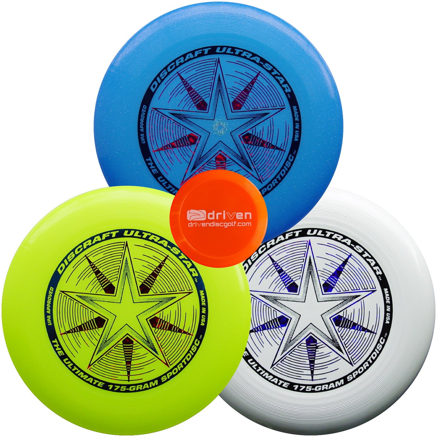 Discraft Ultimate Disc Bundle - Set of 3 175g Ultra Stars (White - Yellow - Blue Sparkle) by Discraft