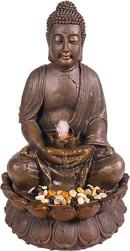 Alpine Corporation 33″ Tall Indoor/Outdoor Meditating Buddha Water Fountain Yard D cor
